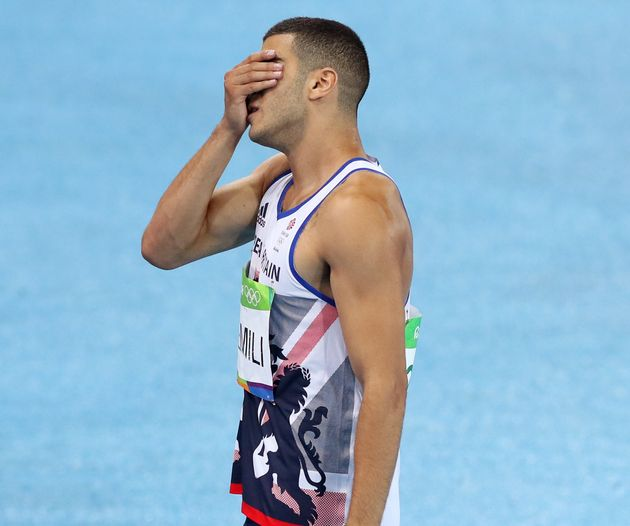 Adam Gemili reacts to the