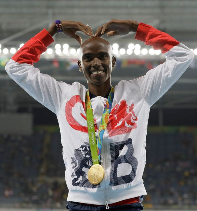 Mo Farah celebrates his Rio 2016 10,000m