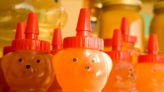 Organic honey in plastic teddy bear bottles