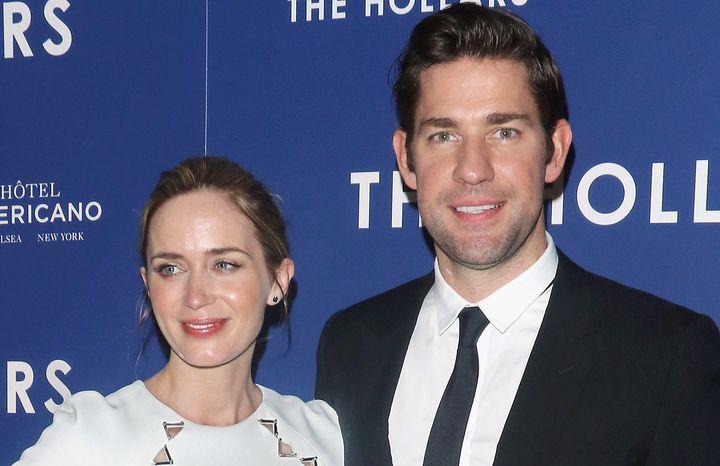"Emily Blunt and John Krasinski attend a screening of ""The Hollars"" onAug. 18, 2016, in New York City."
