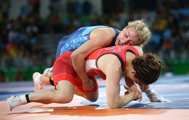Maroulis, pictured in action during the final, scored all her points in the last periodto defeat Yoshida.