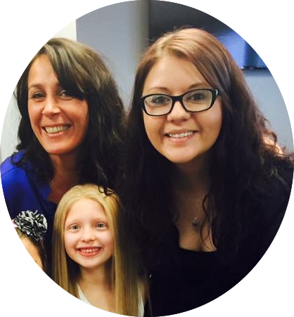 Amelia with Danielle Marzella Grillo and Lacey VanMater from Transitions Hair Solutions.