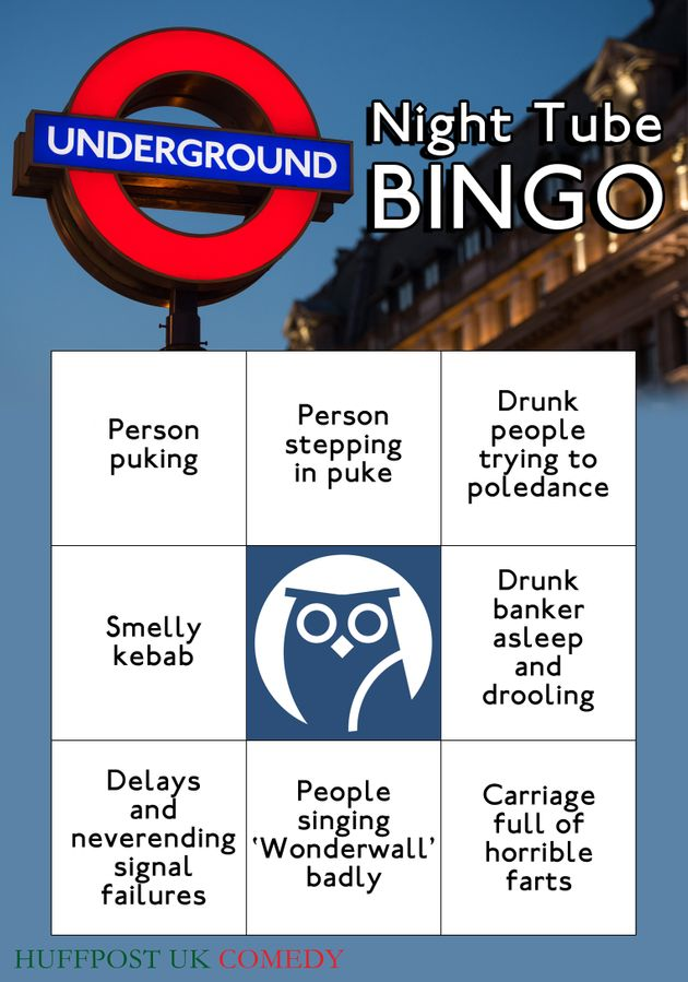 Play Night Tube Bingo When You Travel On The Underground This