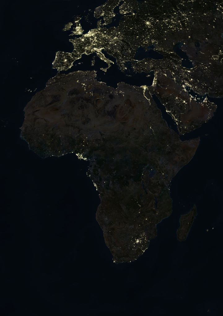 True colour satellite image of Africa at night. This image in Lambert Azimuthal Equal Area projection was compiled from data