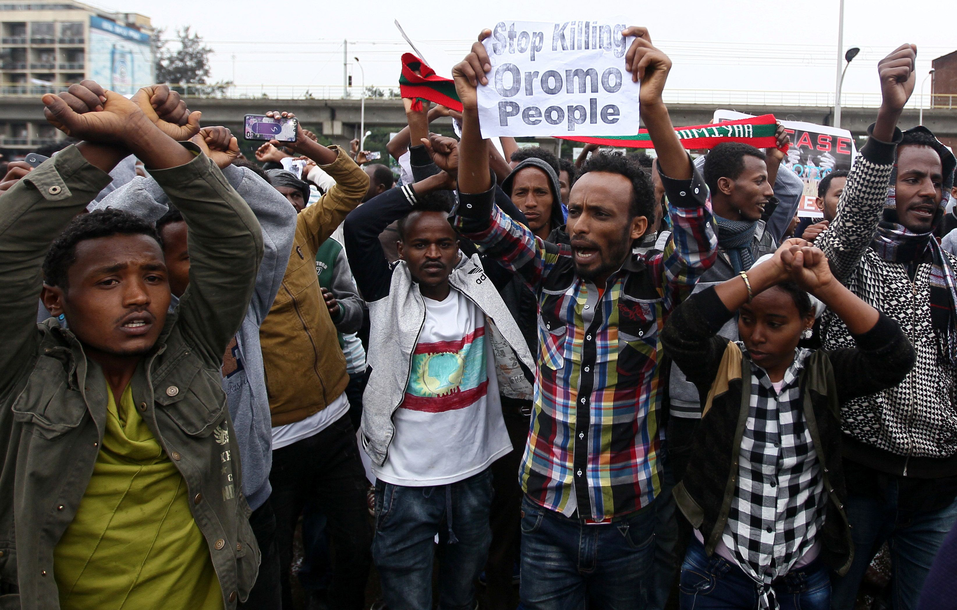 Protesters chant slogans during a demonstration over what they say is unfair distribution of wealth in the country at Meskel