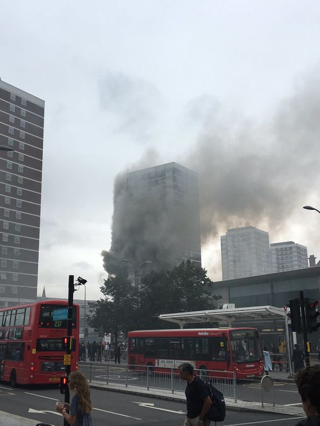 Plumes of smoke from the fire blew over Shepherds Bush