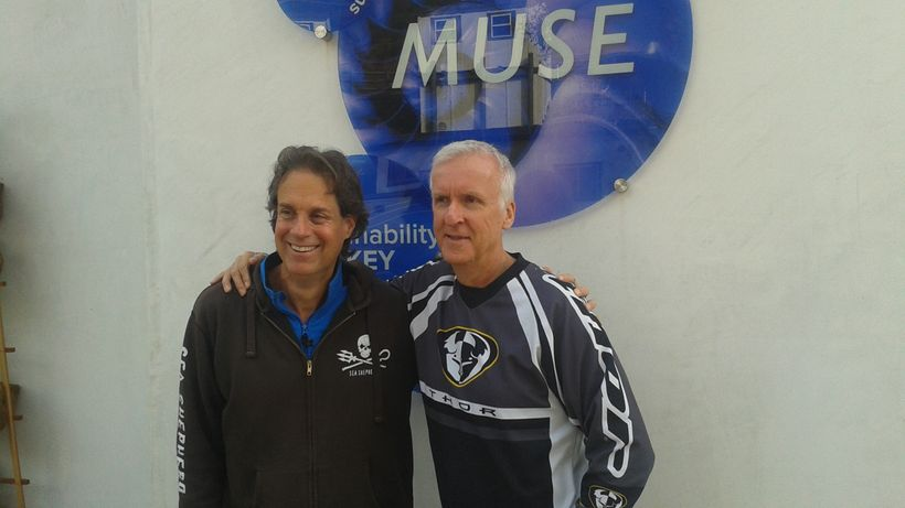 The Earth Doctor with famed producer and explorer James Cameron discussing the climate in crisis at MUSE School, CA.