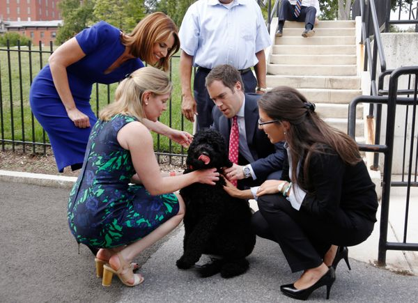 Sunny Obama gets a warm welcome after arriving at her new home.