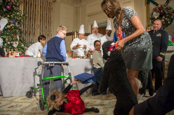 First lady Michelle Obama pulledSunny back after 2-year-old Ashtyn Gardner took a tumble at the White House inDec