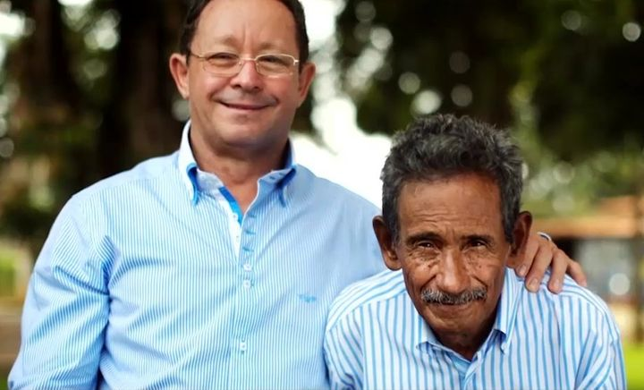 Thanks to a stranger's kindness is helping Sobrinho (right) get the word out about his poetry through Facebook, he was able to reunite with his brother and stop living on the streets.