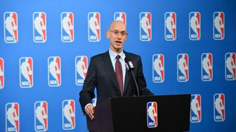 LAS VEGAS, NV - JULY 12: NBA Commissioner Adam Silver speaks to the media after the Board of Governors meetings on July 12, 2016 at the Encore Hotel in Las Vegas, Nevada. NOTE TO USER: User expressly acknowledges and agrees that, by downloading and/or using this photograph, user is consenting to the terms and conditions of the Getty Images License Agreement.  Mandatory Copyright Notice: Copyright 2016 NBAE (Photo by David Dow/NBAE via Getty Images)