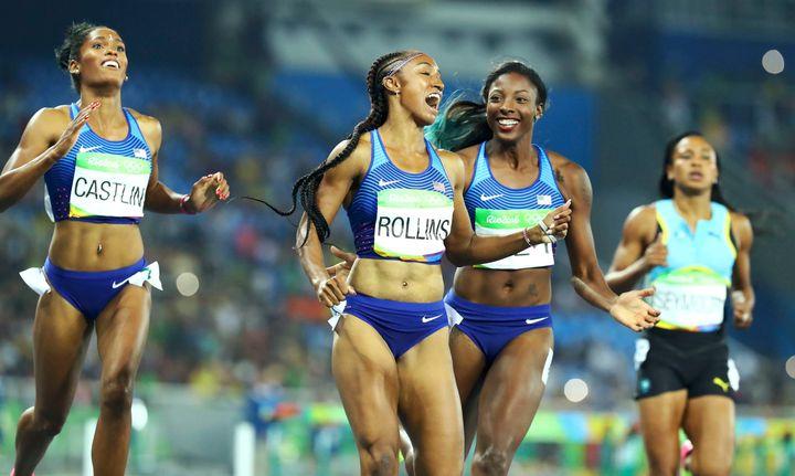 Kristi Castlin, Brianna Rollins and Nia Ali all of team USA winbronze, gold and silver in the 100-meter hurdles.