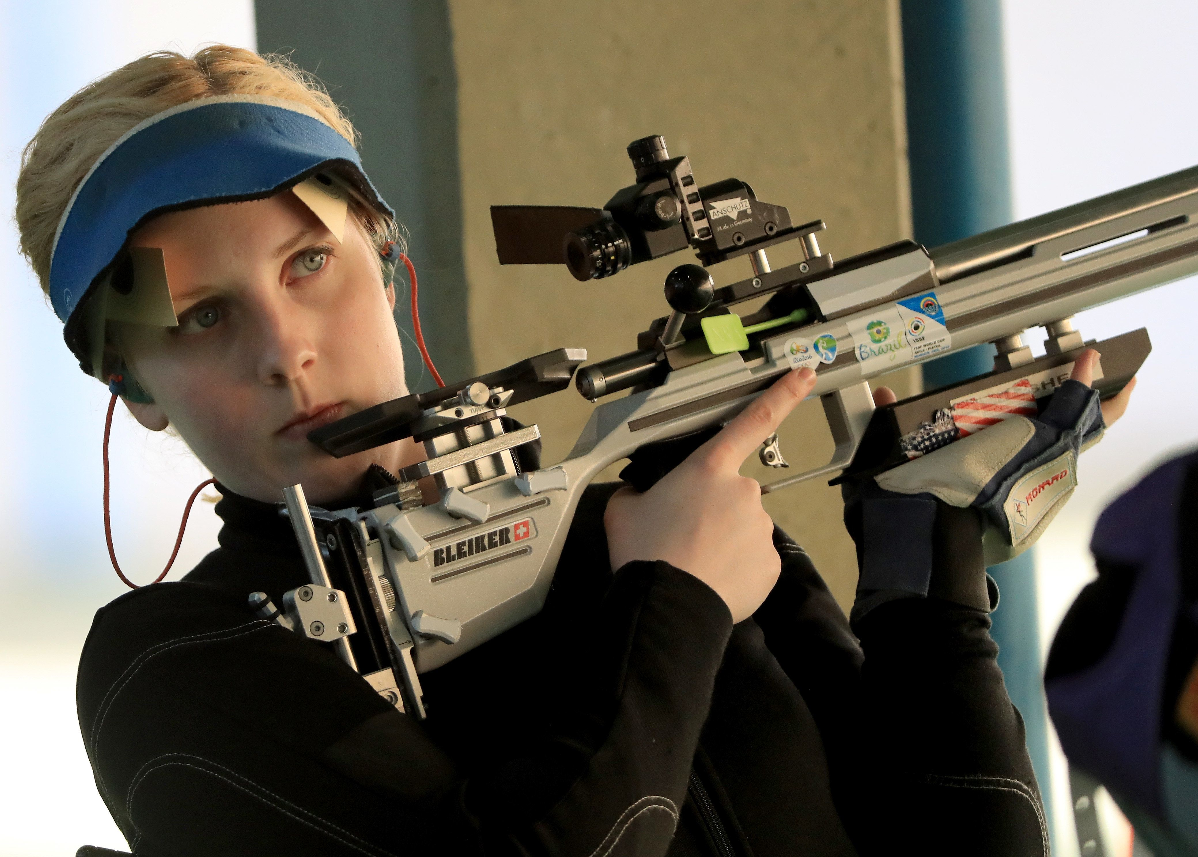 Ginny Thrasher competes in a qualifying match of the women's 50m rifle 3-position eventin Rio on Aug. 11.