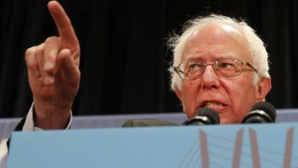 PHILADELPHIA, PA - JULY 26:  Senator Bernie Sanders addresses the New York delegation at the Democratic National Convention (DNC) on July 26, 2016 in Philadelphia, Pennsylvania. The convention officially began on Monday and is expected to attract thousands of protesters, members of the media and Democratic delegates to the City of Brotherly Love.  (Photo by Spencer Platt/Getty Images)