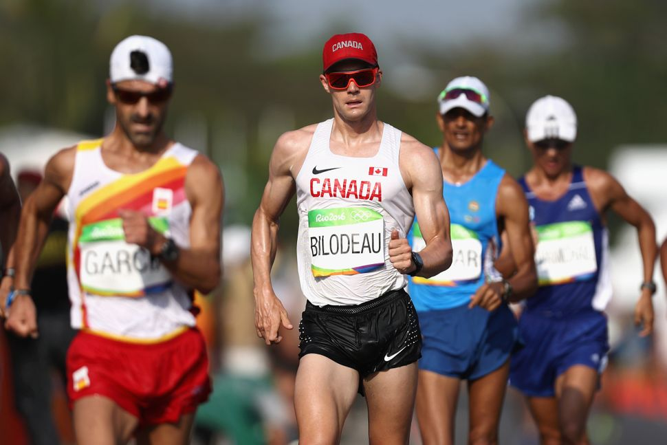Mathieu Bilodeau of Canada competes in the 50km race walk.