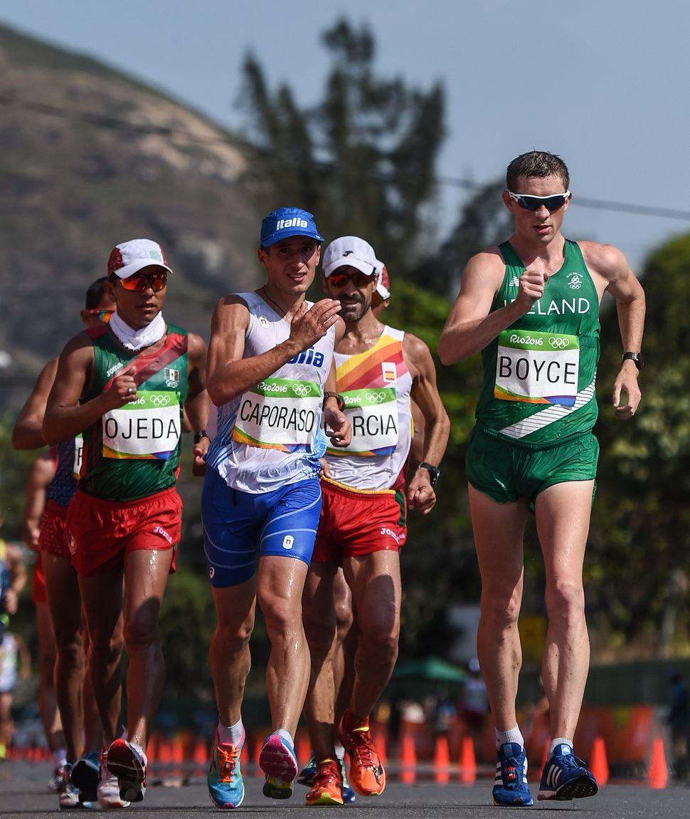 Brendan Boyce of Ireland competes in the 50km race walk.