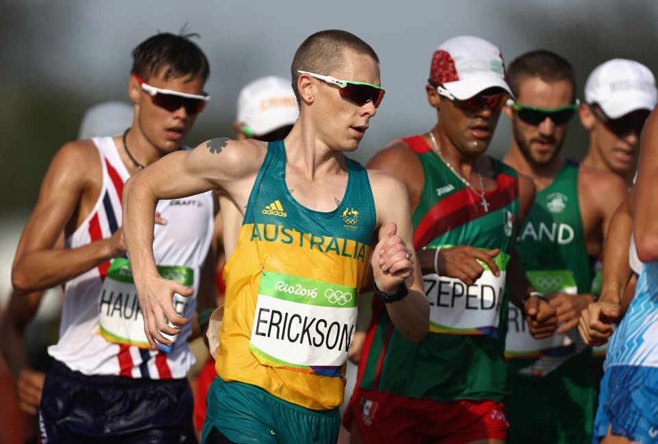 Chris Erickson of Australia competes in the men's 50km race walk at the Rio Olympics on Aug. 19, 2016.