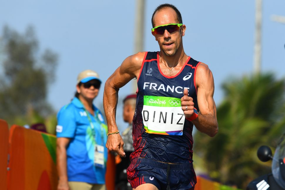 Yohann Diniz of France competes in the 50km race walk.
