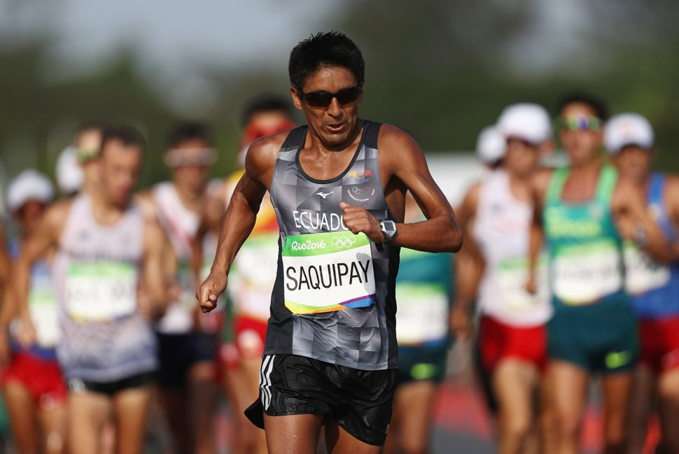Rolando Saquipay of Ecuador competes in the 50km race walk.