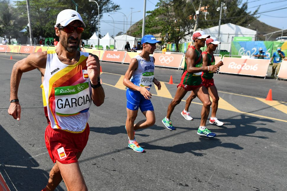 A. Jesus Garcia of Spain competes in the 50km race walk.