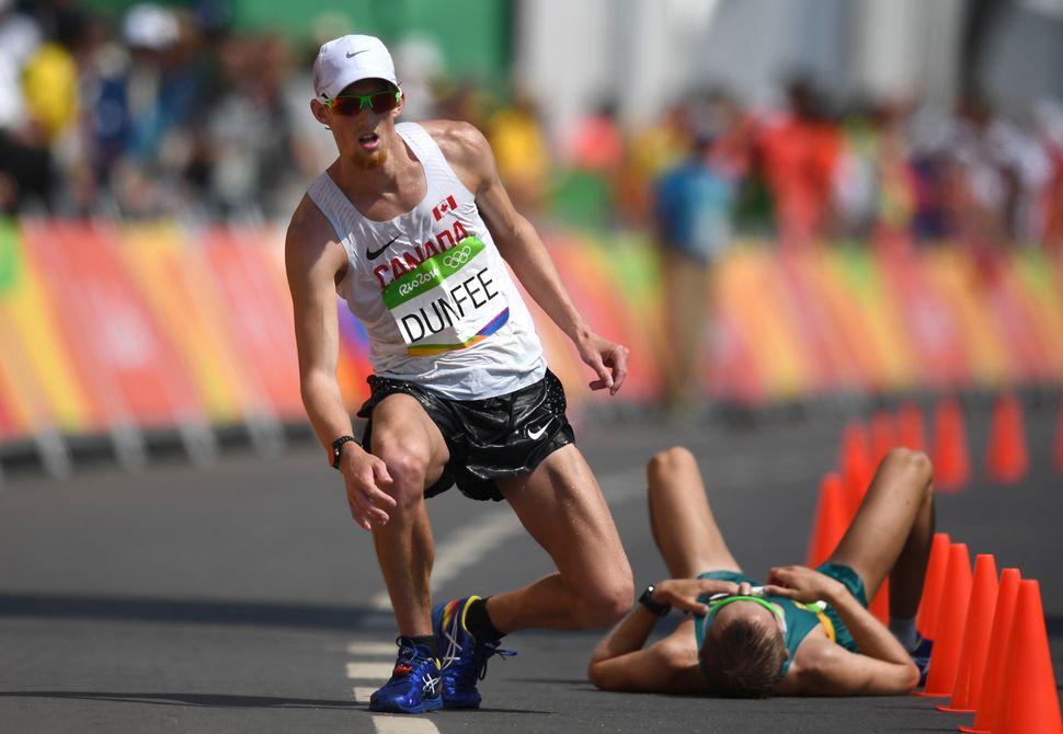 Evan Dunfee of Canada after finishingthirdin the men's 50km race walk.