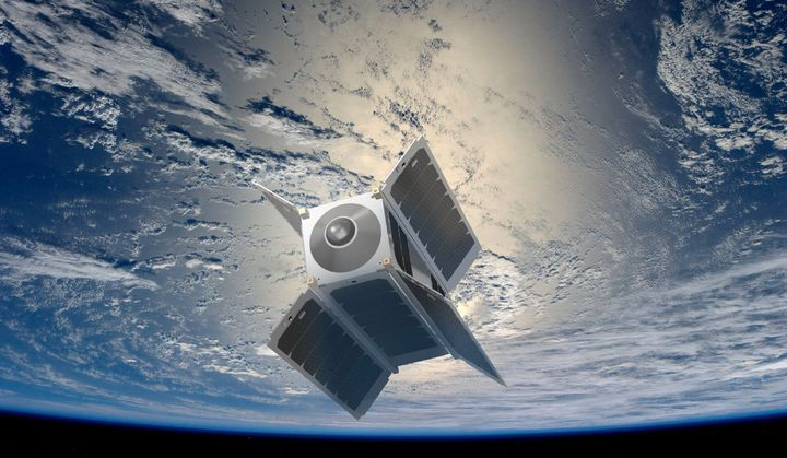 This artist's conception shows the Overview 1 virtual reality satellite, which will give Earth-bound headset wearers the