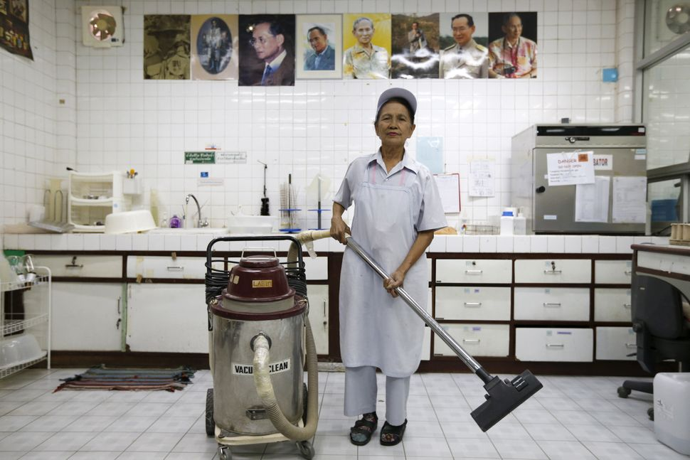 Darunee Kamwong, 72, is a cleaner in a rice vermicelli factory outside Bangkok, Thailand. The number of people over 65 in Tha