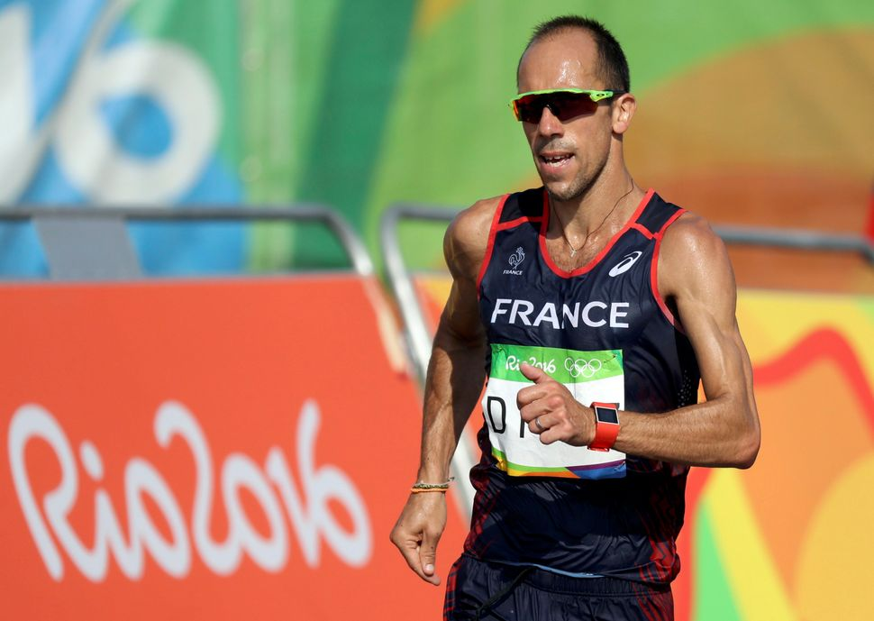 Yohann Diniz of France competes in the 50km race walk final on Friday.