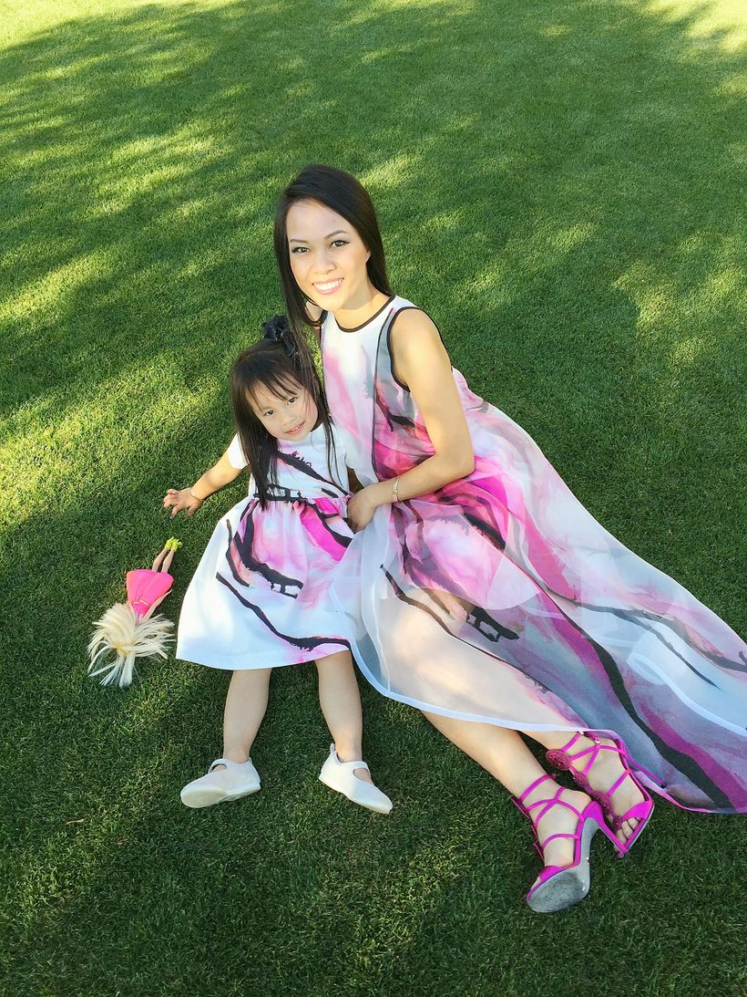 Khanh Nguyen and her daughter in Nha Khanh gowns.