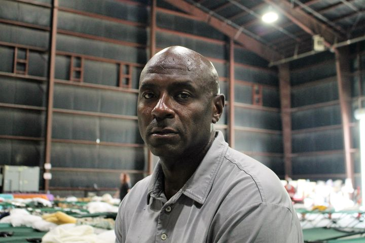 Calvin John inside the Celtic Studios, which has been turned into a makeshift shelter amid massive floods in Baton Rouge, Lou