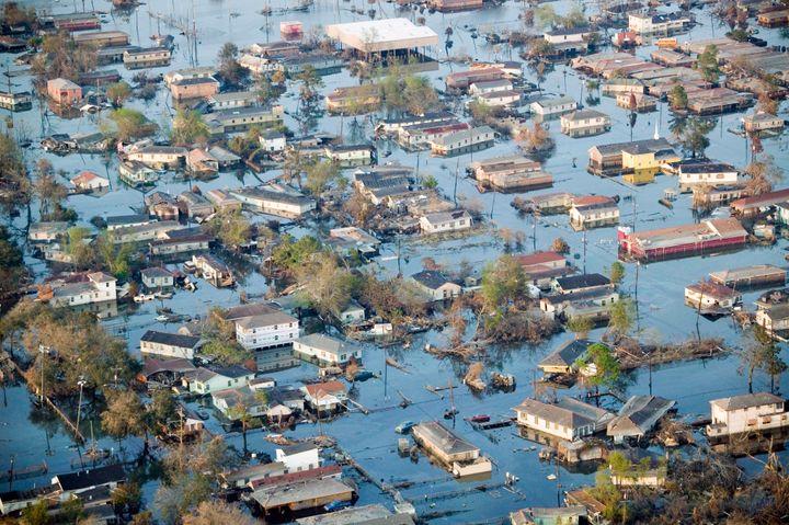 The neighborhood of Chalmette sits underwater on Sept.11, 2005, in St. Bernard Parish. Hurricane Katrina devastated lar