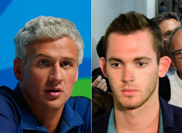 U.S. swimmer Gunnar Bentz says Lochte tore an advertisement from the building and then argued with security guards.
