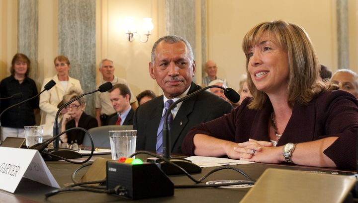 <i>Charles Bolden and Lori Garver speak to members of Congress during their 2009 confirmation hearings.</i>