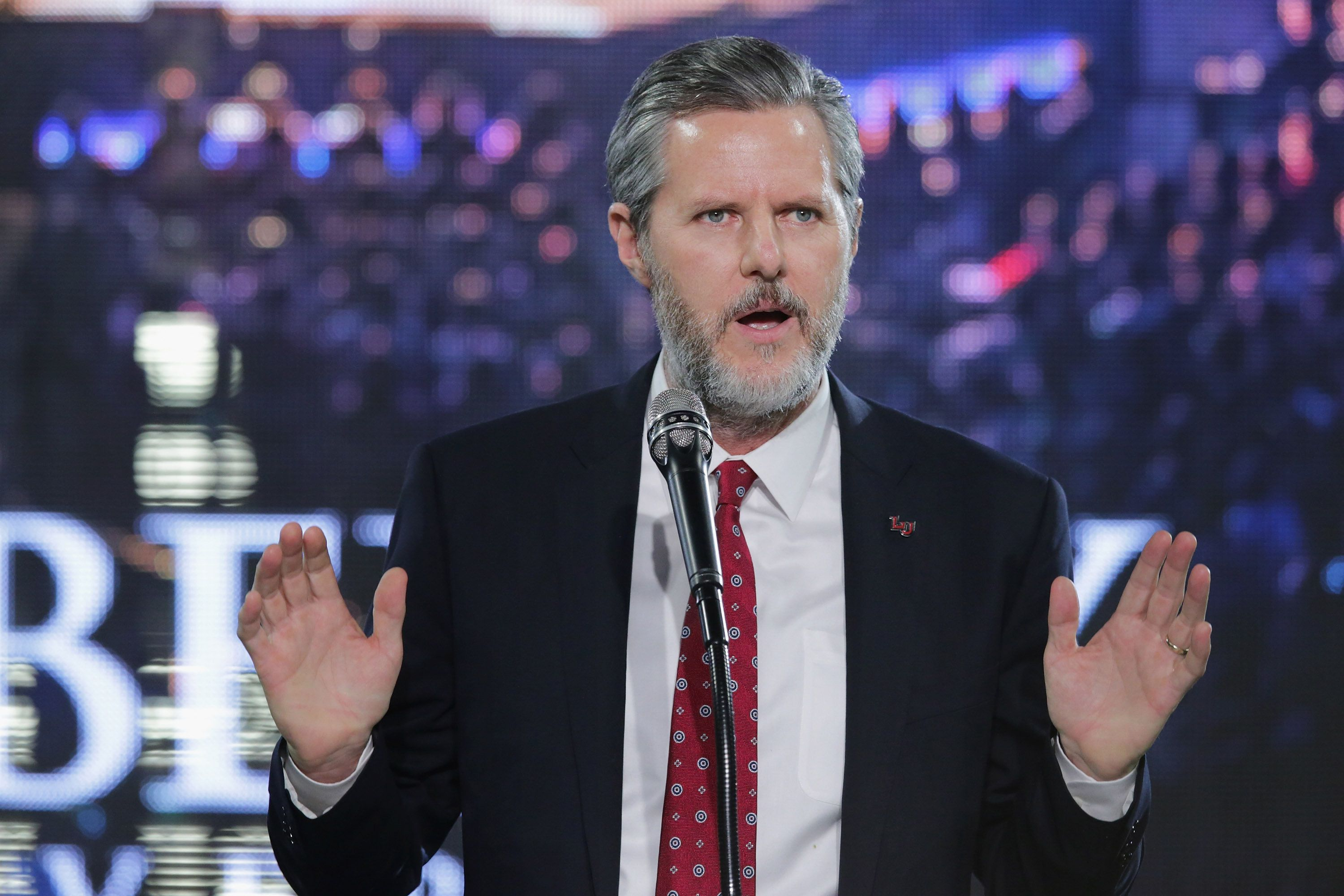 Jerry Falwell Jr. introduces Donald Trump at a rally in January at Liberty University in Lynchburg, Virginia.