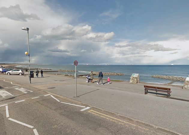 The spot on Aberdeen beachwhere the incident is reported to have taken