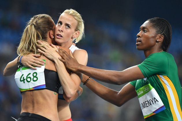 Lynsey Sharp (centre) has been lambasted for criticising South Africa's Caster Semenya (right) who...