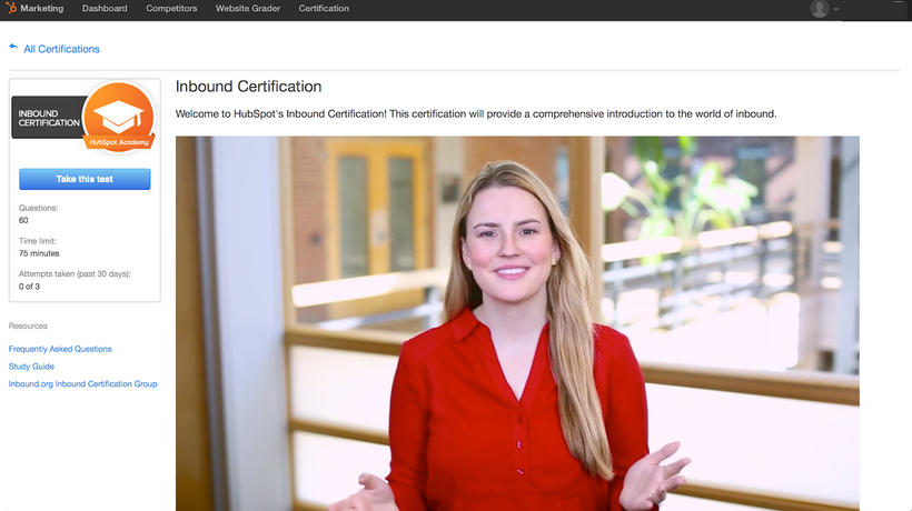 Hubspot's Inbound Marketing Certification Course Content