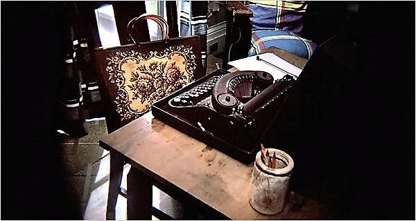 The writer Flannery O'Connor's desk and typewriter in her bedroom at Andalusia, her farm near Milledgeville, Ga.