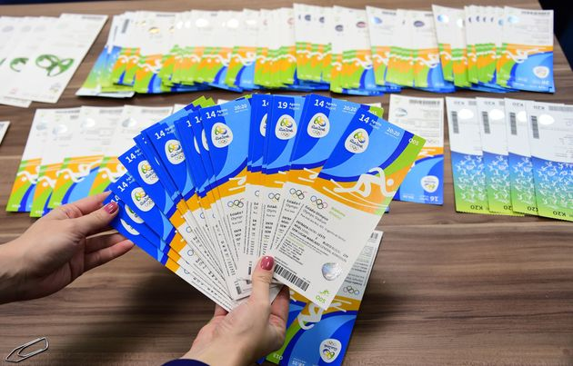 Tickets of the Rio 2016 Olympic Games marked with the name of the Olympic Committee of Ireland, which...