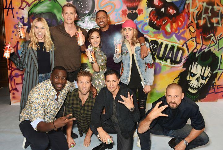 The cast of 'Suicide Squad' including Margot Robbie, Adewale Akinnuoye-Agbaje, Joel Kinnaman, Jai Courtney, Karen Fukuhara, W