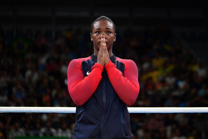 Claressa Maria Shields reacts during the medal presentation ceremony following the women's middleweight(69-75kg) final