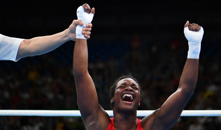 Claressa Maria Shields reacts after winning against Nouchka Fontijn during the Women's Middle (69-75kg) Final Bout at the Rio