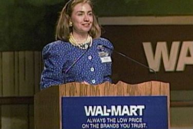 Age: 38, 1986, Rodham-Clinton is elected the first woman board member of Walmart, which is based in Arkansas.