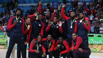 RIO DE JANEIRO, BRAZIL - AUGUST 21:  The United States team pose with their Gold medals after the final match of the Men's basketball between Serbia and United States on day 16 at Carioca Arena 1 on August 21, 2016 in Rio de Janeiro, Brazil. (Photo by Ian MacNicol/Getty Images)
