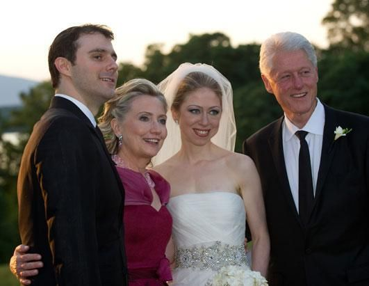 Age: 62, 2010, The Clintons attend the wedding of their daughter, Chelsea, to Marc Mezvinsky in Rhinebeck, NY.