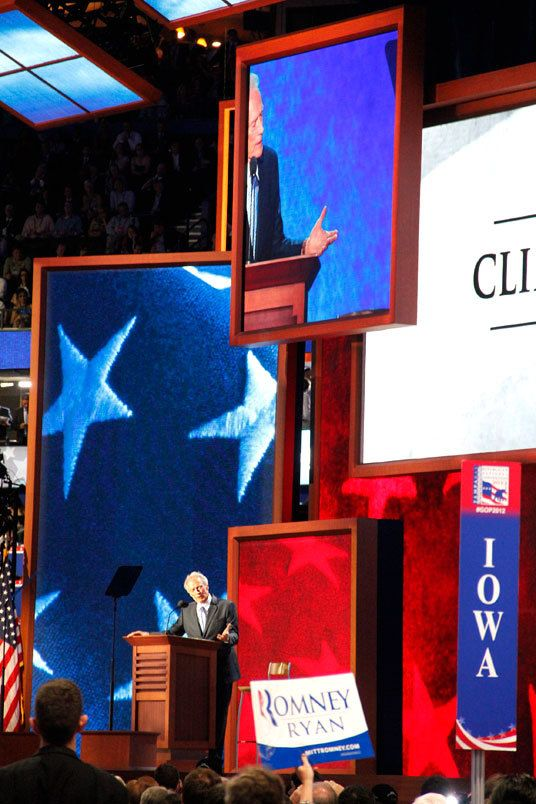 Clint Eastwood talking to an empty chair at the 2012 Republican Convention in Tampa, Florida.