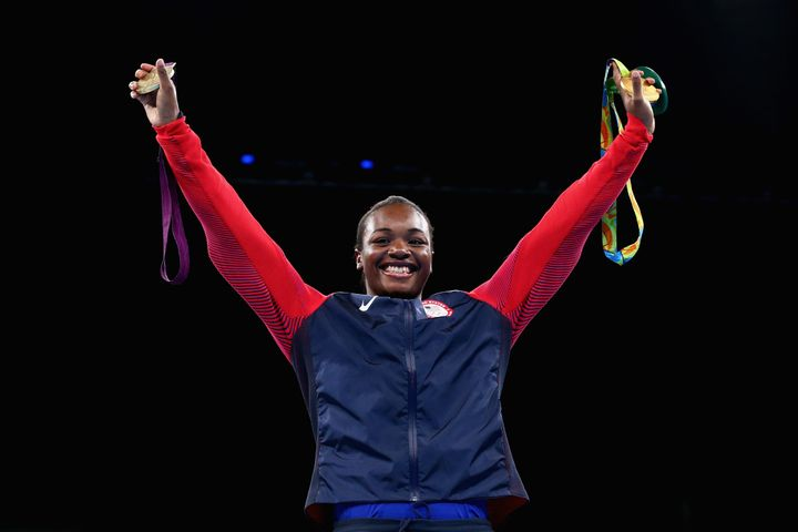 Gold medalist Claressa Maria Shields of the United States poses on the podium during the medal ceremony for the Women's Boxin