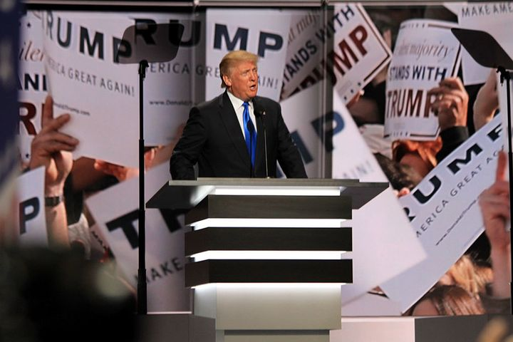 Donald Trump introducing Melania Trump at the Republican National Convention in Cleveland, Ohio, July 18, 2016.