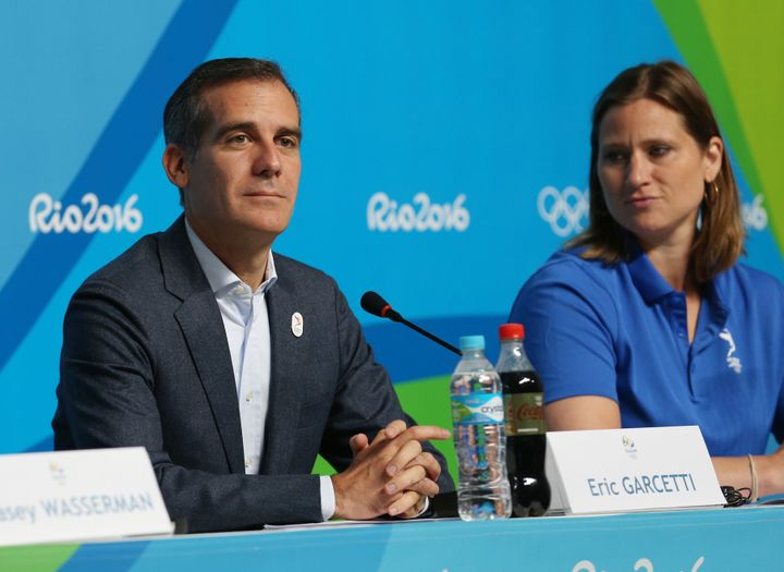 Los Angeles Mayor Eric Garcetti, left, speaking at a press conference in Rio about L.A.'s Olympic bid, acknowledged there cou