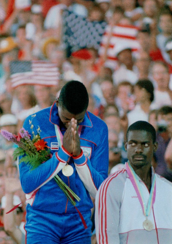 Los Angeles last hosted the Olympics in 1984, when Carl Lewis (pictured with Ben Johnson) won the first of his nine gold meda